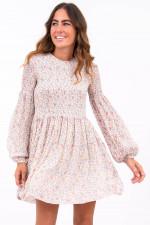 Kleid mit gesmokten Details in Weiß/Blumenmuster