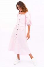 Midi-Kleid mit Puffarm in Rosa