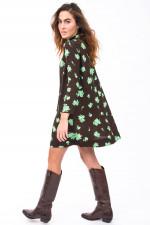Kleid mit floralem Print in Braun/Mint
