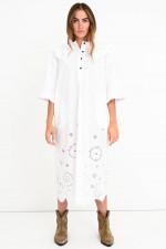 Oversized Midi-Kleid mit Bubikragen in Weiß