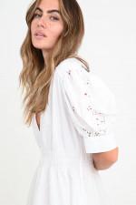 Midi-Kleid mit Lochstick in Weiß