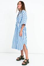 Oversized Streifen-Blusenkleid in Weiß/Blau