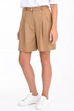 Klassische Shorts mit Faltenlegung in Beige