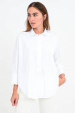 Oversized Bluse mit rundem Saum in Weiß