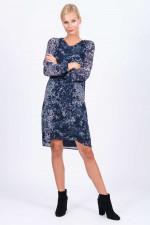 Kleid in Blau/Creme gemustert