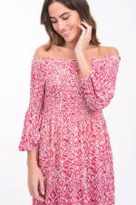 Off-Shoulder Kleid aus Leinen in Pink gemustert