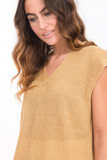 Leinen-Strickshirt in Camel