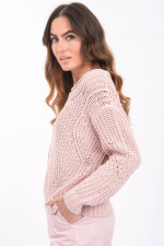 Grobstrick-Pullover in Pastell-Rosé