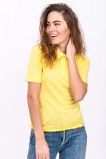 Poloshirt aus Leinen in Gelb