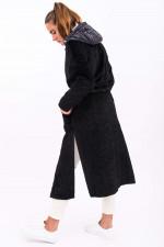 Fake Fur Mantel mit Inlay in Schwarz