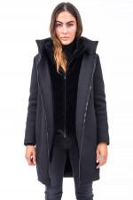 Mantel SCUBA mit Fake-Fur-Inlay in Schwarz