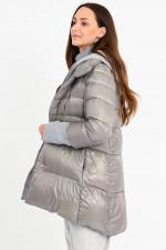 Daunenjacke mit Sweater-Einsatz in Grau