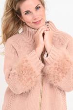 Strickjacke mit Daunen-Details in Rosé
