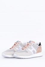 Sneaker mit Frottee Einsatz in Hellgrau/Rose