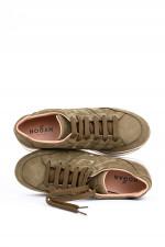 Leder-Sneaker in Khaki
