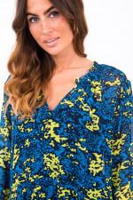 Kleid ANDREA in Neon Blau/ Gelb