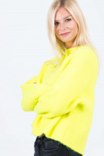Rippstrick-Pullover SKYLA in Neongelb