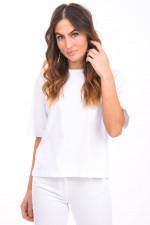 T-Shirt ABELA mit weitem Kurzarm in Weiß