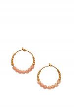 Kreolen STONES HOOP mit Rosenquarz in Gold/Rosé