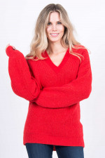 Pullover aus Alpaka-Mix in Rot