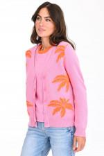 Kaschmir-Weste mit Palmen-Design in Rosa/Orange