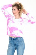 Sweater im Batik-Design in Pink/Weiß