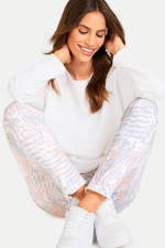 Slim Fit Sweatpants mit Animal Print in Weiß
