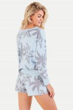 Shorts mit Palmen-Print in Hellblau