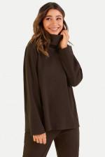 Sweater mit Rollkragen in Dunkelbraun