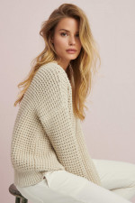 Strickpullover aus Baumwoll-Mix in Sand