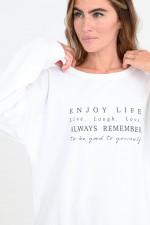 Sweater mit Statement-Print in Weiß