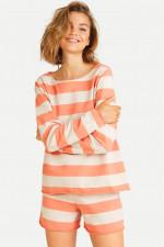 Sweater mit Blockstreifen in Papaya/Beige