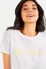 T-Shirt OPTIMIST in Weiß/Gelb
