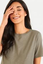 T-Shirt aus Baumwoll-Viskose-Mix in Khaki
