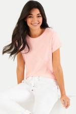 T-Shirt aus Baumwoll-Viskose-Mix in Apricot