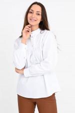 Blusenshirt mit Stehkragen in Weiß
