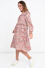 Rüschen-Kleid mit Blumen-Print in Rosa/Pink