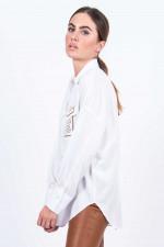 Bluse in Weiß gemustert