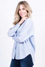 Bluse mit Streifen-Design in Hellblau/Weiß