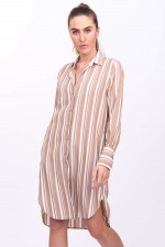 Blusenkleid im Streifen-Design in Braun/Weiß