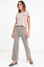 Cropped Rippstrick-Hose HEATHER in Taupe
