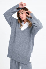 Oversized Kaschmir-Pullover in Grau