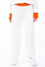 Weite Sweatpants in Natur/Orange
