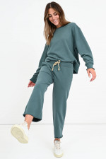 Cropped Sweatpants in Graugrün
