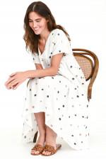 Kleid mit Elefanten-Stickerei in Weiß
