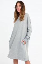 Sweater-Kleid mit Rüschen in Hellgrau