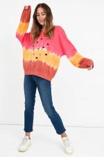 Batik-Sweater mit Elefanten in Pink/Orange/Rost