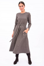 Langes Kleid PASCIA in Braun/Weiß