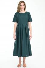 Ausgestelltes Midi-Kleid EDERE in Waldgrün
