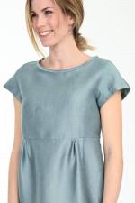 Leinen-Seiden-Mix Kleid PRUGNA in Salbei